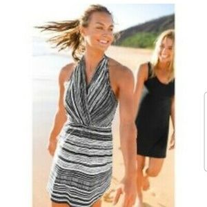New Athleta Go Anywhere  Purple Stripe* Dress 8p